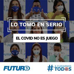 """""""Esta pandemia está lejos de estar controlada, seamos conscientes y responsables"""". Súmate #ACuidarnosTodos. #FuturoSeguros #LoTomoEnSerio #DejoLaCherchaParaDespués #NoNosConfiemos"""